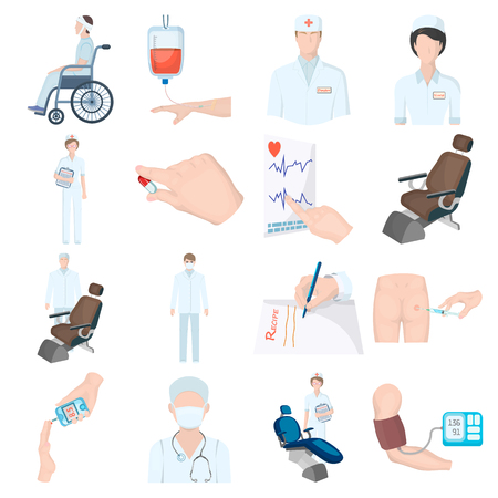 tonometer: Injured in a stroller, blood transfusion, blood sugar test, doctor, medical staff. Medicine set collection icons in cartoon style vector symbol stock illustration web.