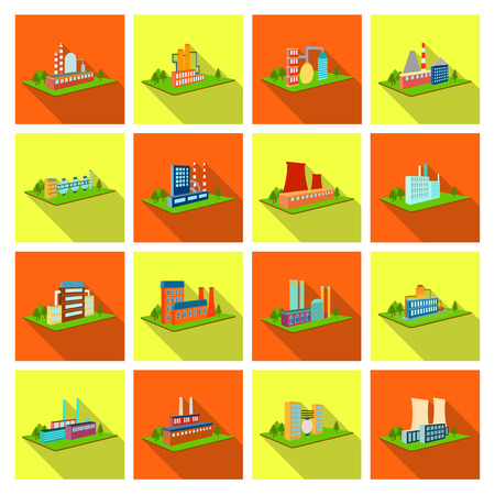 Processing factory,metallurgical plant and other production. Factory and industry set collection icons in flat style isometric vector symbol stock illustration web. Иллюстрация
