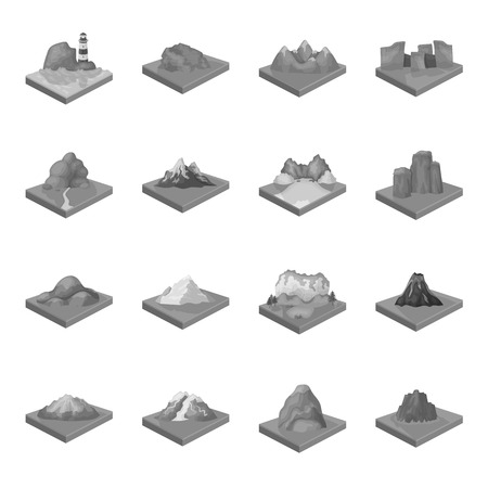 crater lake: Mountains, rocks, lighthouse, volcano and other land reliefs. Mountains and landscapes set collection icons in monochrome style isometric vector symbol stock illustration web.