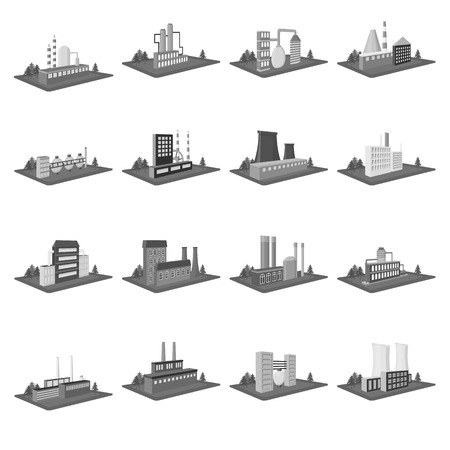 Processing factory,metallurgical plant and other production. Factory and industry set collection icons in monochrome style isometric vector symbol stock illustration web.