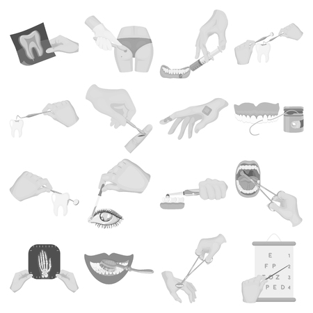 eye pipette: Anesthetic injection, examination of the tooth and other  icon in monochrome style. wound treatment, vision check icons in set collection.