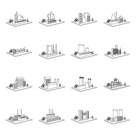 Processing factory,metallurgical plant and other production. Factory and industry set collection icons in outline style isometric vector symbol stock illustration Иллюстрация