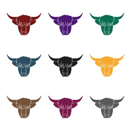 ハイランド牛は、白い背景で隔離の黒のデザインのアイコンを頭します。スコットランドの国シンボル株式ベクトル イラスト。