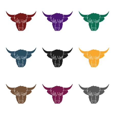 Highland cattle head icon in black design isolated on white background. Scotland country symbol stock vector illustration. 向量圖像