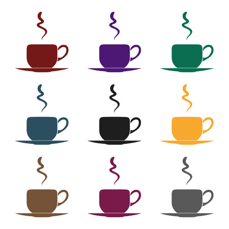 Coffee cup icon in black style isolated on white background. Restaurant symbol stock vector illustration. Çizim