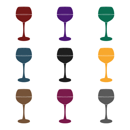 Glass of red wine icon in black style isolated on white background. Wine production symbol stock vector illustration.
