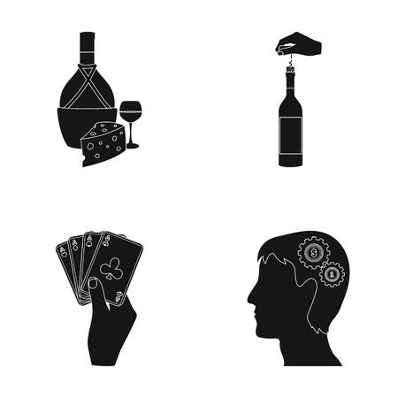 snack bar: Bottle, a glass of wine and cheese, clogging with a corkscrew and other web icon in black style. A combination of cards in hand, a persons head and an idea generator icons in set collection.