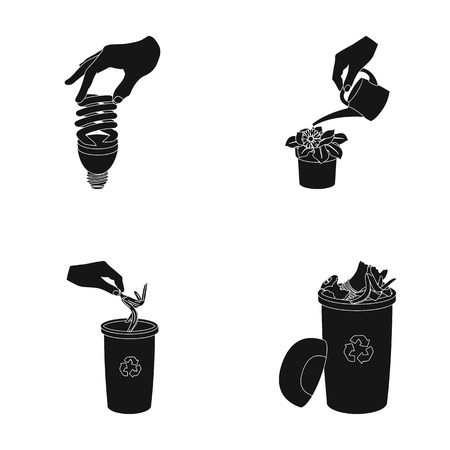 Energy-saving light bulb, watering a houseplant and other web icon in black style. garbage can with waste and garbage icons in set collection. Illustration