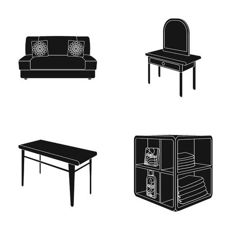 Soft sofa, toilet make-up table, dining table, shelving for laundry and detergent. Furniture and interior set collection icons in black style isometric vector symbol stock illustration web.