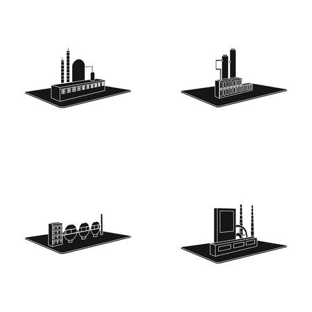 Verwerkende fabriek, metallurgische installatie. Fabriek en industrie vastgestelde inzamelingspictogrammen in het zwarte Web van de de voorraadillustratie van het stijl isometrische vectorsymbool.