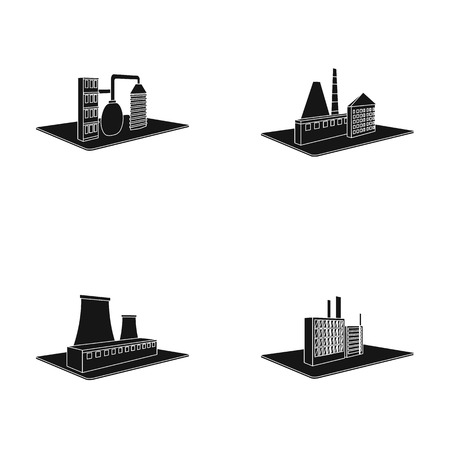 Processing factory,metallurgical plant. Factory and industry set collection icons in black style isometric vector symbol stock illustration web.