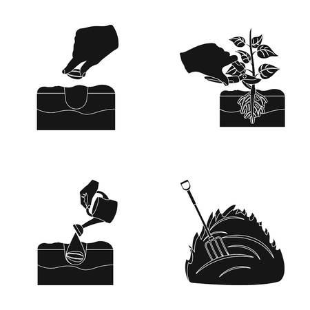 Garden, ecology, farmingand other web icon in black style. Feed, plot, farm,icons in set collection.