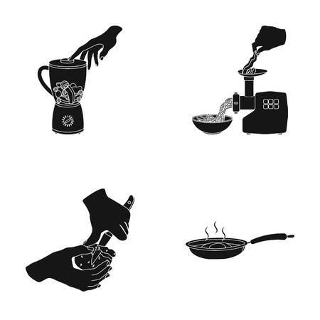 cast iron: equipment, appliances, appliance and other web icon in bleack style., cook, tutsi. Kitchen, icons in set collection.