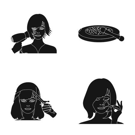 brown haired girl: Salon, care, hygiene and other web icon in black style. Hands, hairdresser, beauty, icons in set collection.