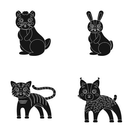 Animals, domestic, wild and other web icon in black style. Zoo, toys, children, icons in set collection.