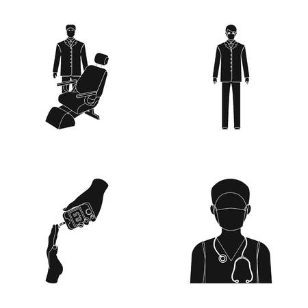 Doctor in a face mask, dentist, medical staff, a blood test for sugar. Medicineset collection icons in black style vector symbol stock illustration web. Illustration