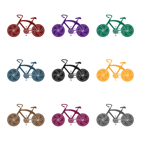 A sports bike for a quick ride down the road. Bicycle ecological economical transport.Transport single icon in black style vector symbol stock illustration. Çizim