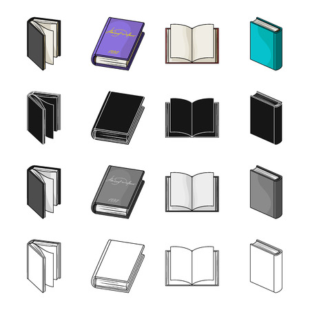 Different types of books, literature, textbook, dictionary. Book set collection icons in cartoon black monochrome outline style vector symbol stock illustration web.