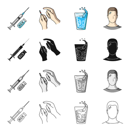 diabetes syringe: Medicine, diabetes, treatment, and other web icon in cartoon style.Polyclinic, hospital, prevention icons in set collection.