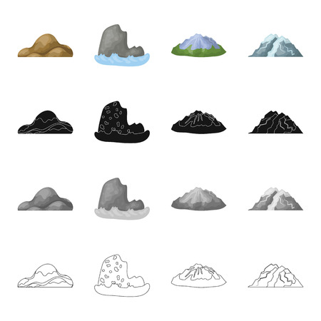 Mountains, nature, stone and other web icon in cartoon style.Material, building, tops icons in set collection.