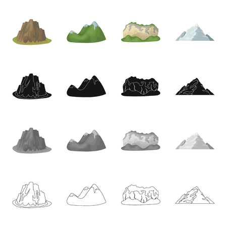Mountains, nature, stone, and other web icon in cartoon style.Rock, material, building icons in set collection.