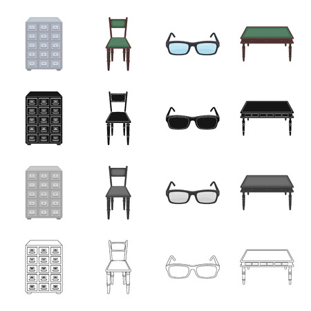 Furniture in the library, filing cabinet, chair, table, glasses for sight. Library set collection icons in cartoon black monochrome outline style vector symbol stock illustration web. Illustration