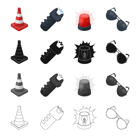 Restrictive cone, electric shock, police flasher, sunglasses. Police set collection icons in cartoon black monochrome outline style vector symbol stock illustration web.