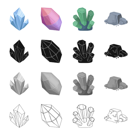 Blue mineral aquamarine, pink amethyst, precious jade, iron ore. Precious mineral set collection icons in cartoon black monochrome outline style vector symbol stock illustration web.