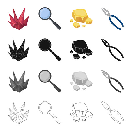 Ruby is a precious mineral, a magnifying glass, a piece of rock, jewelry pincers. Precious mineral set collection icons in cartoon black monochrome outline style vector symbol stock illustration web.