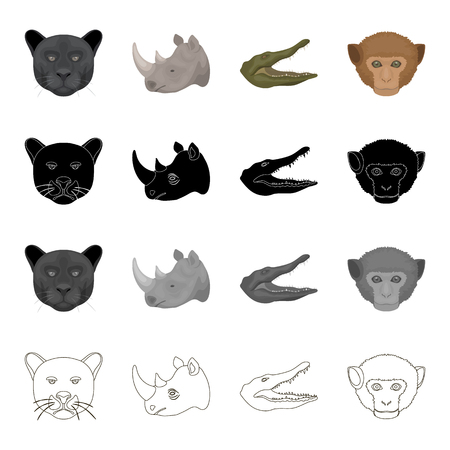 Wild animal panther, rhinoceros, crocodile, monkey. Realistic animal set collection icons in cartoon black monochrome outline style vector symbol stock illustration web.