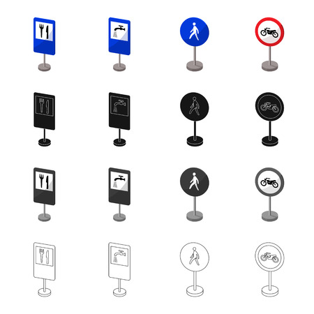 advantages: Index on the road, prohibiting, warning, indicating and other types of signs. Road sign set collection icons in cartoon black monochrome outline style vector symbol stock illustration web. Illustration
