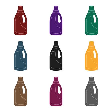 Icona di detersivo di lavanderia in stile nero isolato su priorità bassa bianca. Pulizia simbolo illustrazione stock vettoriale. Vettoriali