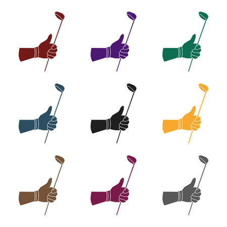 Holding of a golf club icon in black style isolated on white background. Golf club symbol stock vector illustration.