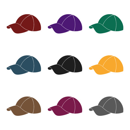 Golf cap icon in black style isolated on white background. Golf club symbol stock vector illustration.