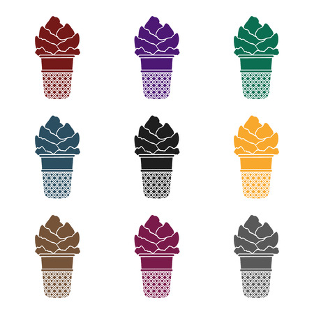 Set of ice cream icon in waffle cup  isolated on white background. Çizim