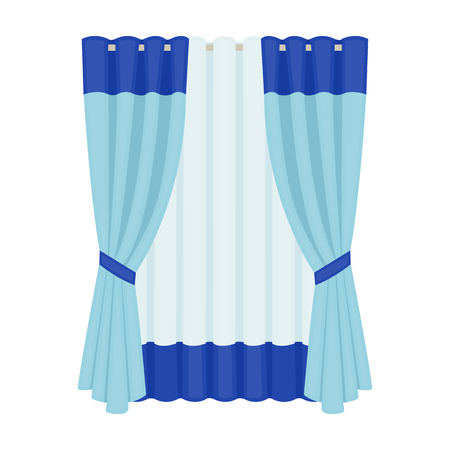 Blue and white curtain icon in cartoon style illustration.