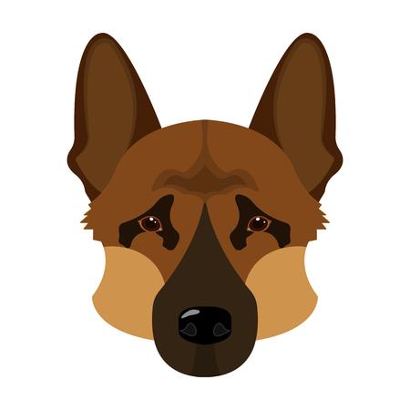 Hondenras, Duitse herder. Snuit van het Duitse herder enige pictogram in cartoon stijl vector symbool stock illustratie web. Stock Illustratie