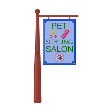 Stylish salon for a pet, a sign on a street post, Pet care single icon in cartoon style vector symbol stock illustration web.