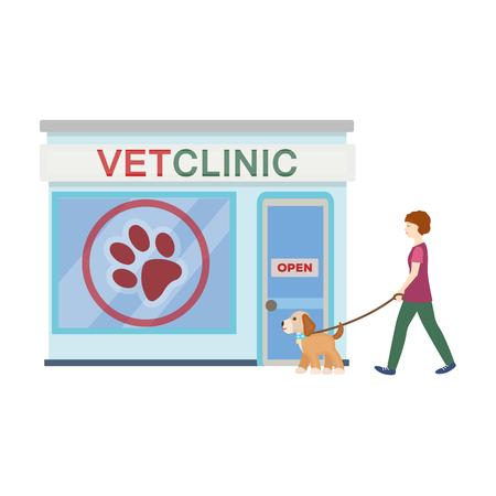 Bezoek aan de dierenartskliniek, het huisdier, hond aangelijnd met de gastvrouw. Huisdier, hond zorg één pictogram in cartoon stijl vector symbool stock illustratie web.