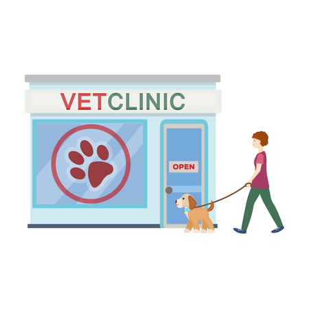 Visiting the vet clinic, the pet,dog on a leash with the hostess. Pet,dog care single icon in cartoon style vector symbol stock illustration web.