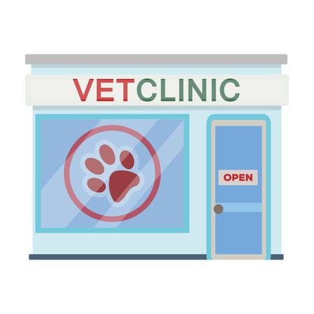 Kantoor van de dierenkliniek. Huisdier zorg één pictogram in cartoon stijl vector symbool stock illustratie web.