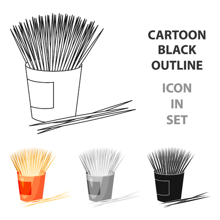 Icona di stuzzicadenti nello stile del fumetto isolato su priorità bassa bianca. Illustrazione di stock di simbolo di cura dentale. Vettoriali