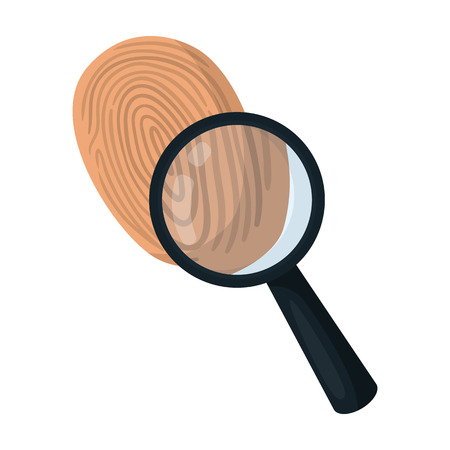 grooves: Investigation by fingerprint magnifier, crime. Loupe is a detective tool, single icon in cartoon style vector symbol stock illustration web.