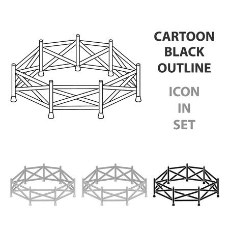 Paddock icon in cartoon style isolated on white background. Hippodrome and horse symbol stock vector illustration. Ilustrace