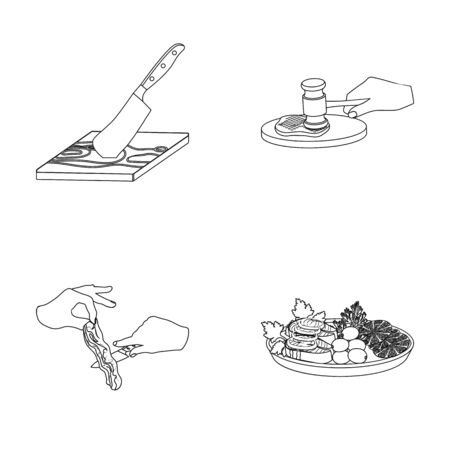 Cutlass on a cutting board, hammer for chops, cooking bacon, eating fish and vegetables. Eating and cooking set collection icons in outline style vector symbol stock illustration .
