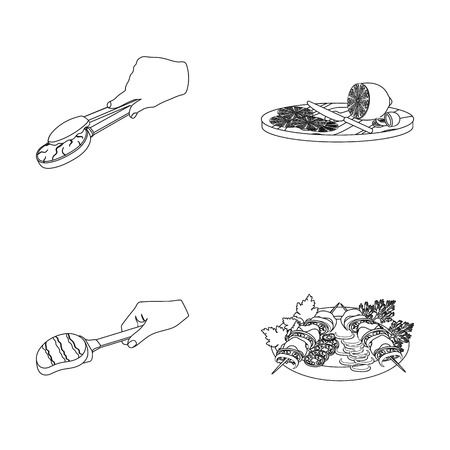 Tongs with steak, fried meat on a scoop, slicing lemon and olives, shish kebab on a plate with vegetables. Food and Cooking set collection icons in outline style vector symbol stock illustration . Illustration
