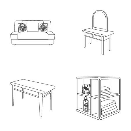 Soft sofa, toilet make-up table, dining table, shelving for laundry and detergent. Furniture and interior set collection icons in outline style isometric vector symbol stock illustration web. Illustration
