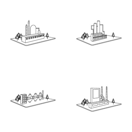 Verwerkende fabriek, metallurgische installatie. Fabriek en de industrie vastgestelde inzamelingspictogrammen in van de het symboolvoorraad van de overzichtsstijl isometrisch vector de illustratieweb.