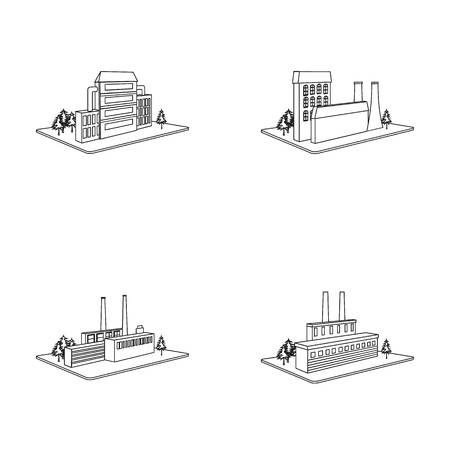 Processing factory,metallurgical plant. Factory and industry set collection icons in outline style isometric vector symbol stock illustration web. Иллюстрация
