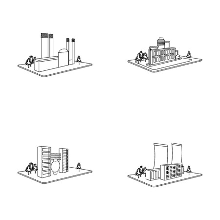 Processing factory,metallurgical plant. Factory and industry set collection icons in outline style isometric vector symbol stock illustration web. Фото со стока - 87040873